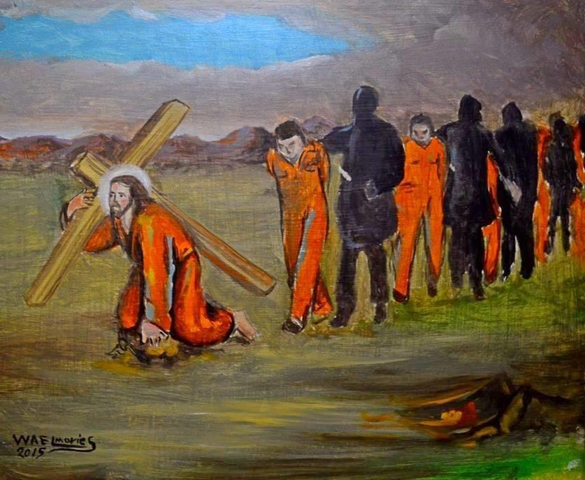 martelaren van Libie - Jezus valt onder het kruis